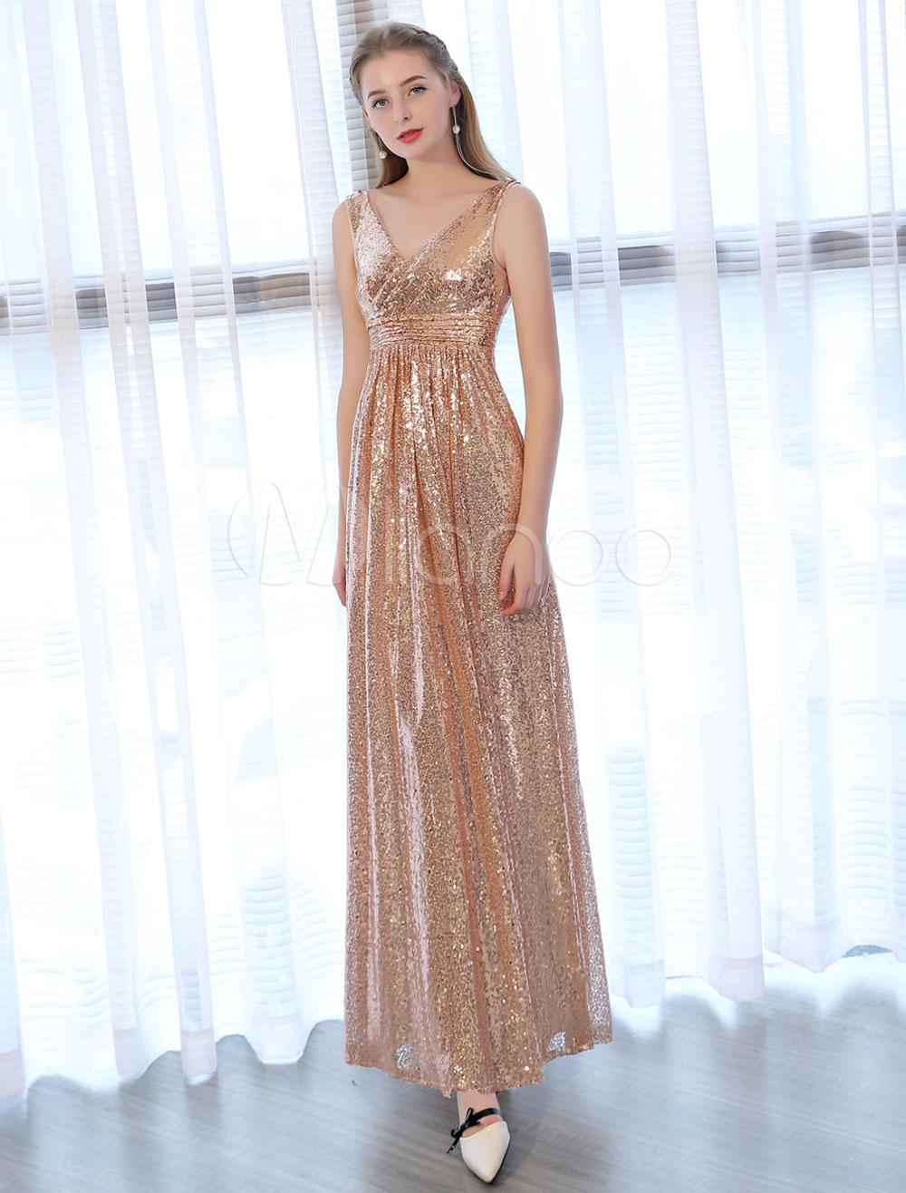 Buy Sequin Prom Dresses Long Light Gold Evening Dress V Neck Pleaded Sleeveless Floor Length Formal Gowns for $96.79 in Milanoo store