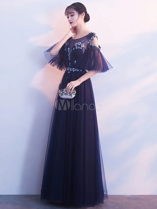 35c4bf23e3e962 Prom Dresses Long Cold Shoulder Lace Flowers Applique Tulle Dark Navy Occasion  Party Dress-No ...