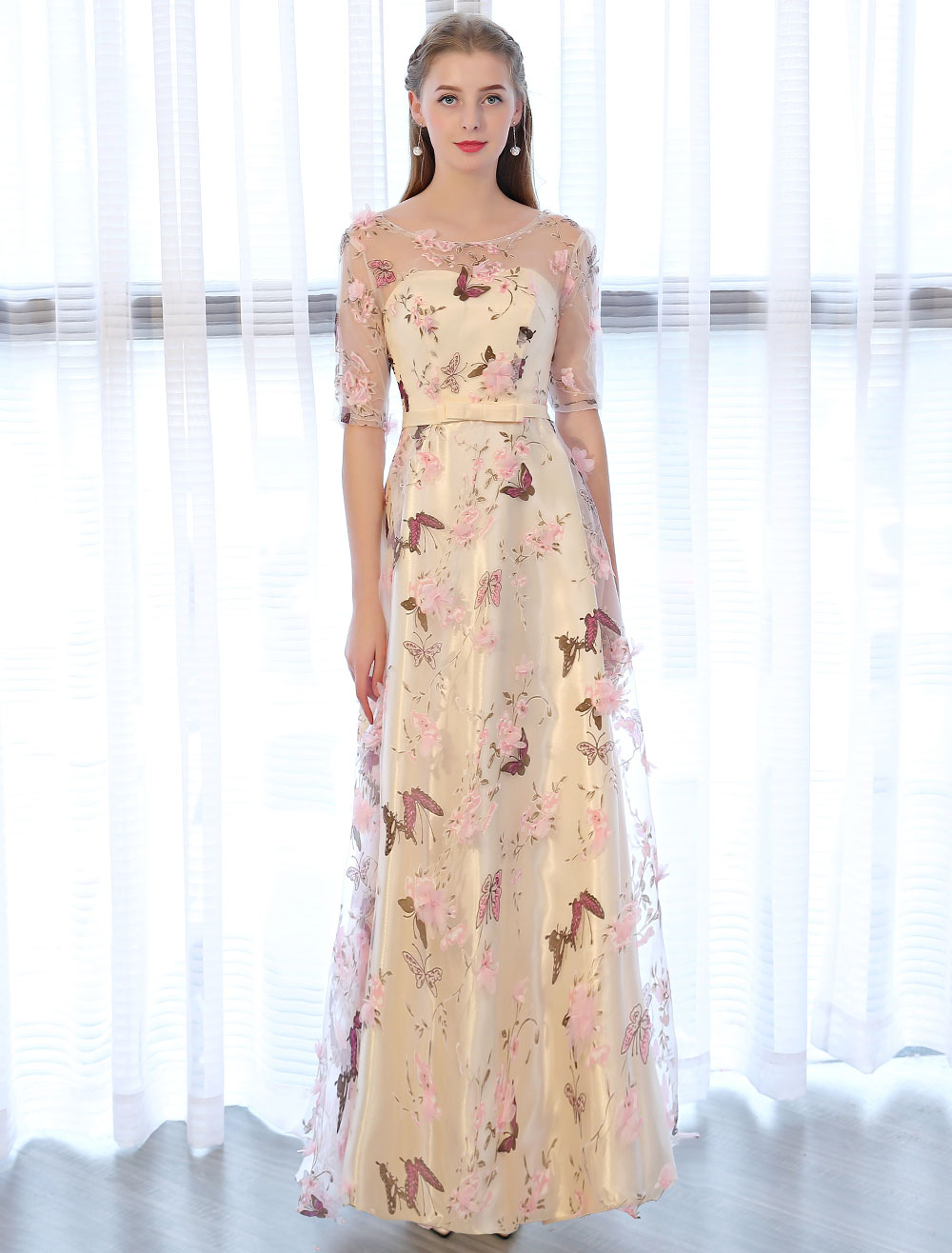 Champagne Prom Kleider lange halbe Hülse Schmetterling gedruckt 3D ...