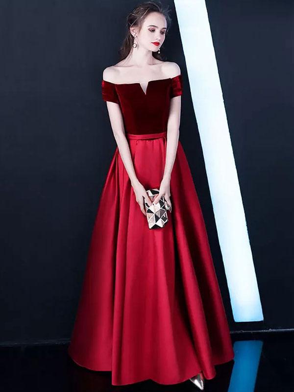 Burgundy Prom Dresses Off The Shoulder Velvet Satin Formal Dress Notched Neck Floor Length Evening Gowns