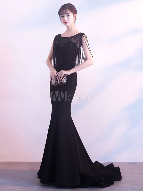 Buy Black Evening Dresses Tassels Beading Satin Mermaid Prom Gown Round Neck Formal Dress With Train for $193.59 in Milanoo store