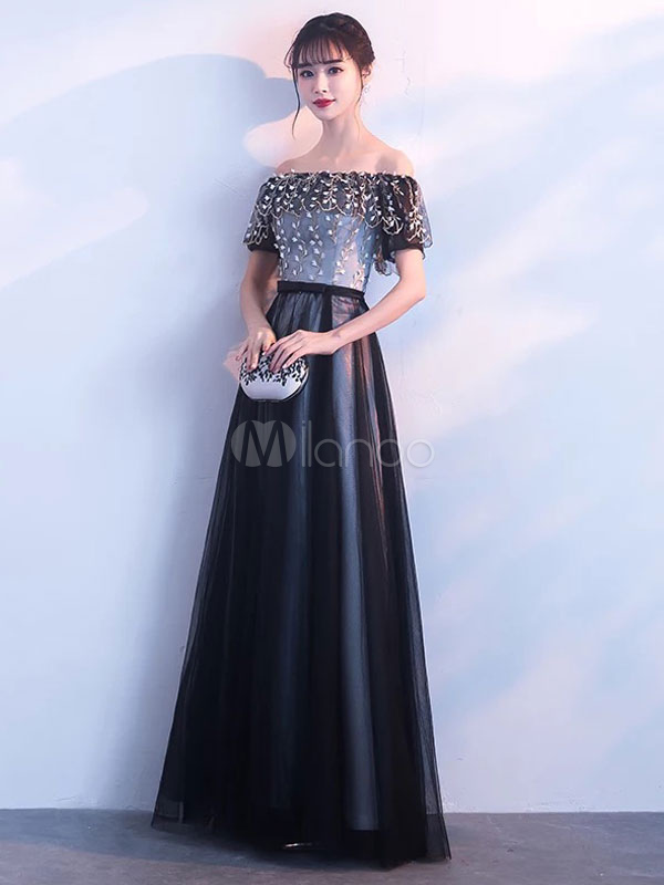 Buy Black Prom Dresses Long Off The Shoulder Formal Dress Lace Tulle Floor Length Evening Gowns for $109.99 in Milanoo store