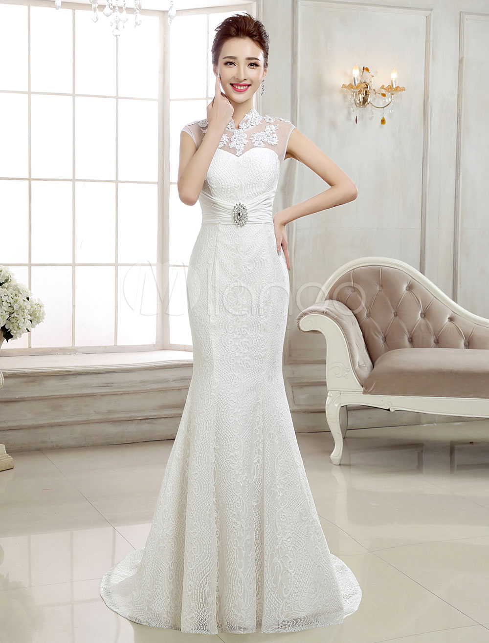 Lace Wedding Dresses Ivory Mermaid Bridal Dress Backless Stand Collar Sleeveless Rhinestones Beaded Wedding Gown With Train