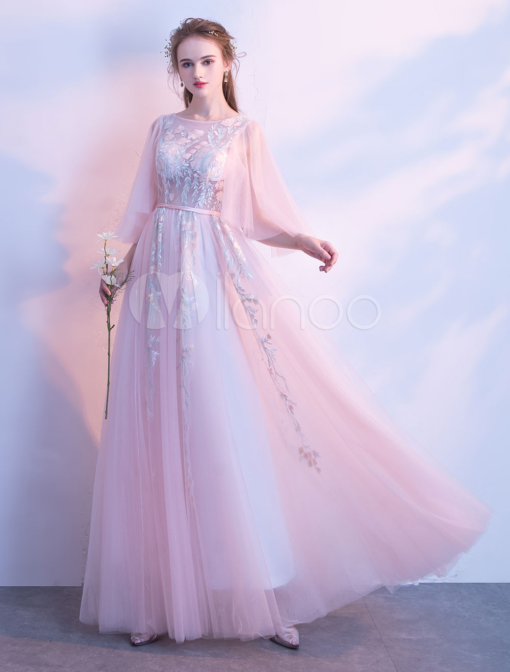Prom Dresses Soft Pink Long Tulle Lace Half Sleeve Bateau A Line Floor Length Occasion Party Dress