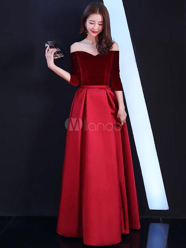 Buy Burgundy Prom Dresses Off The Shoulder Velvet Satin Formal Dress Floor Length Evening Gowns for $118.79 in Milanoo store