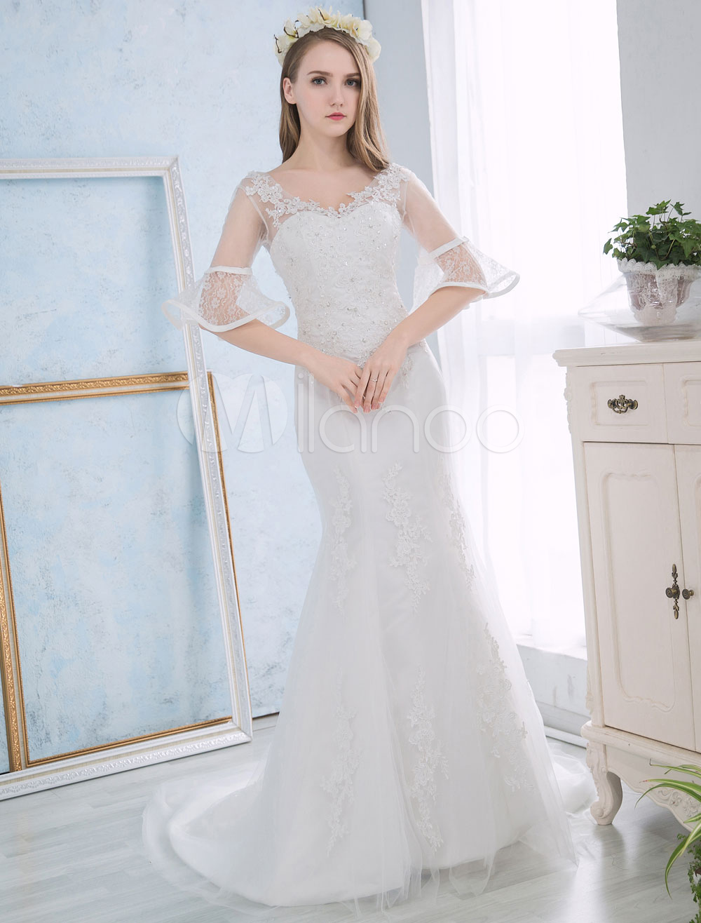 Buy Mermaid Wedding Dresses Ivory Lace Applique Bridal Dress Beaded Half Sleeve V Neck V Back Wedding Gown With Train for $153.99 in Milanoo store