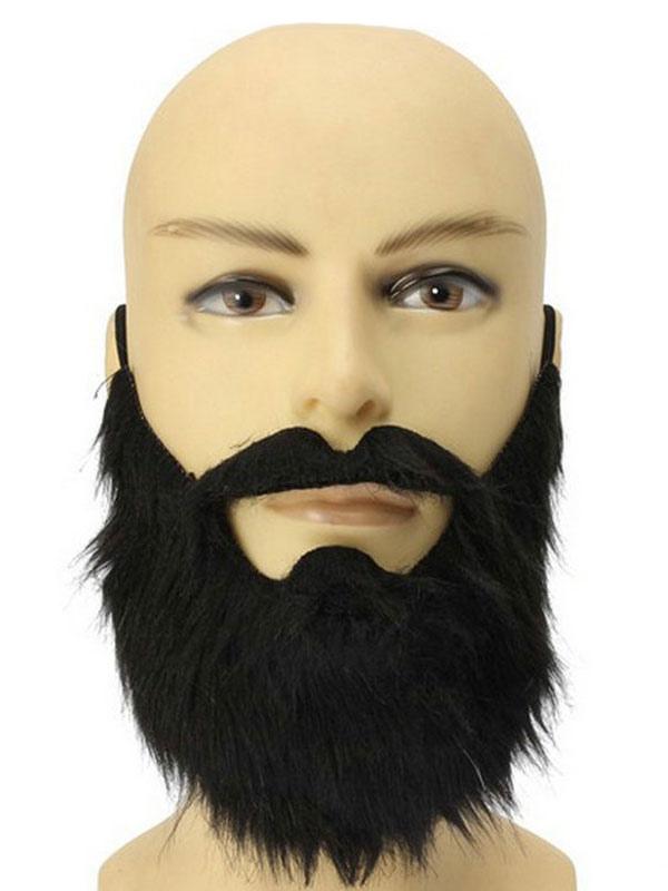 Black Stick On Beard Goatee Facial Hair 5 Pc Set Kit Costume Accessory