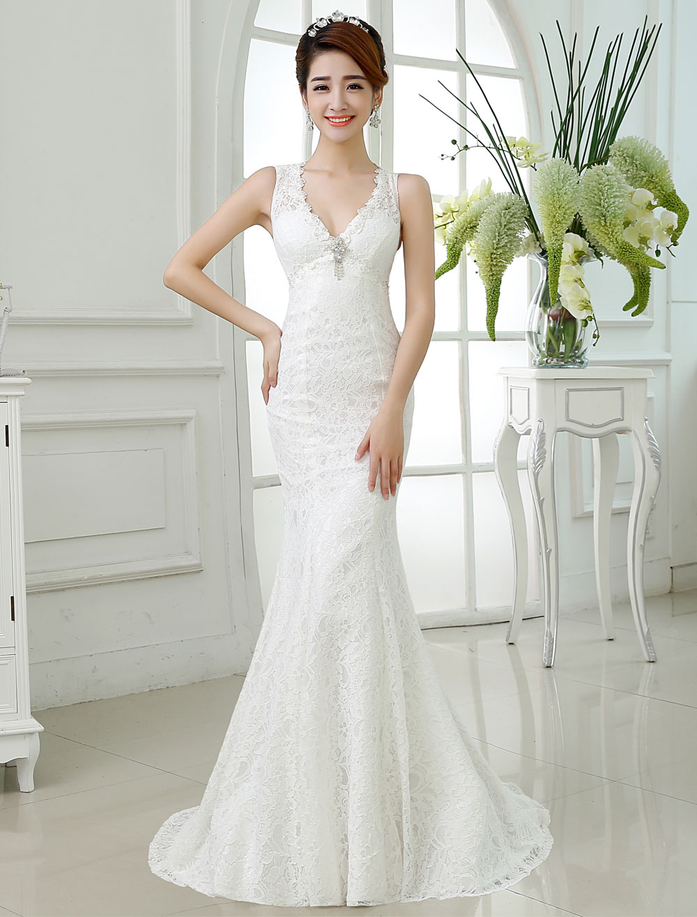 Buy Mermaid Wedding Dresses Lace V Neck Ivory Bridal Dress Backless Sleeveless Rhinestones Beading Wedding Gown With Train for $131.99 in Milanoo store