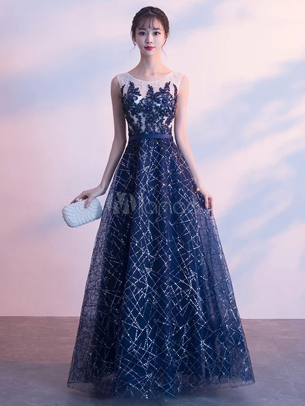 Lace Prom Dresses Long Sleeveless Formal Dress Flowers Beading Dark Navy Floor Length Occasion Party Dress