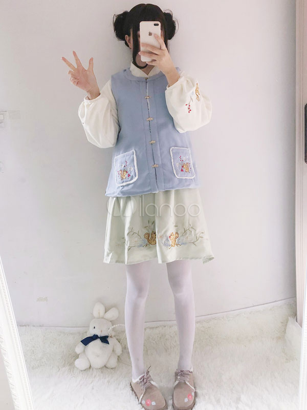 Hanfu Lolita Skirt Mint Green Kawaii Chinese Style Lolita Sk