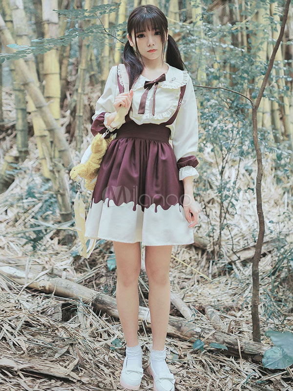 Sweet Lolita Blouse Peter Pan Collar Creamy Chocolate Blouse
