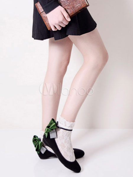 Sweet Lolita Shoes PU Round Toe With Bow Lolita Shoes
