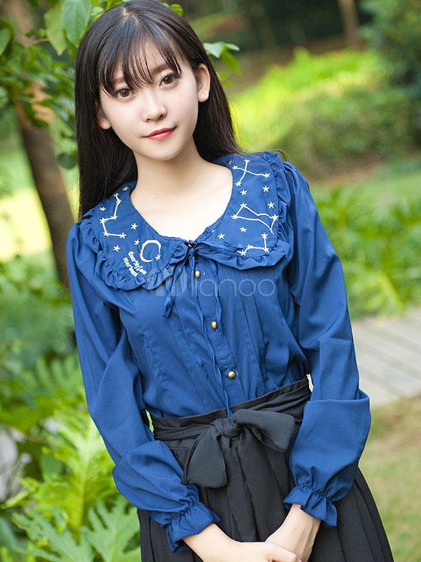 Sweet Lolita Blouse Constellation Moon Kawaii Girl's Blouse
