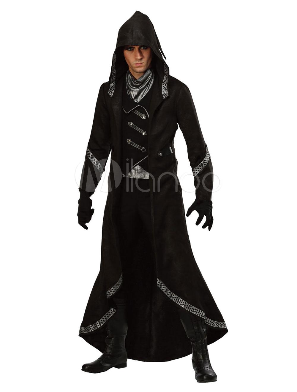 Negima! Magister Negi Magi Halloween Costume Men's Black Hooded Costume Outfit