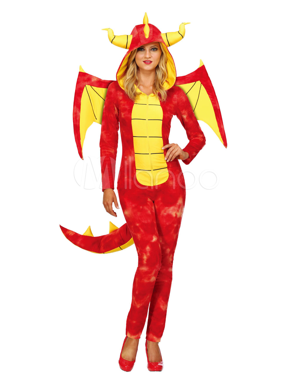 Halloween Dragon Costume Women Jumpsuits With Wings Red Adult Holiday Costumes