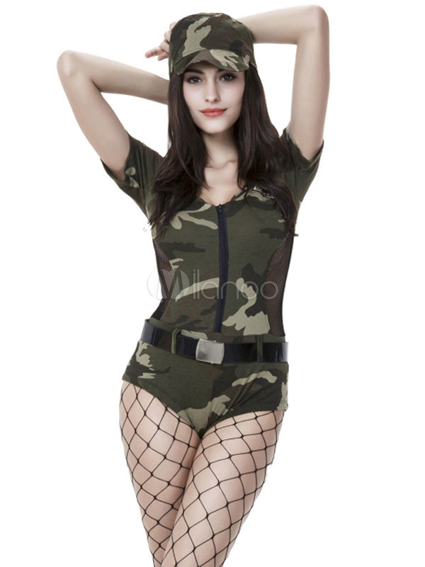 6388fa33379 Army Costume Sexy Halloween Women Camo Printed Jumpsuits And Hat Outfit 2  Pieces-No.