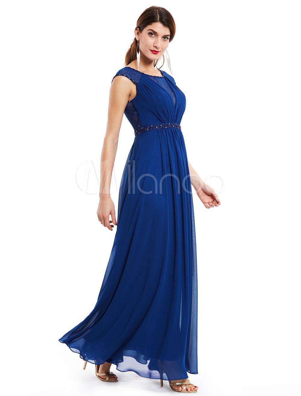 Hochzeit Gast Kleider Chiffon Royal Blue Mutter Kleid Sicke ...