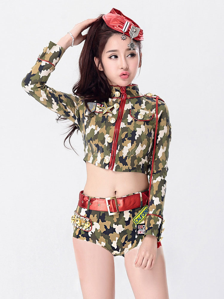 4ad17b19c1211 Army Costume Sexy Halloween Women Camo Printed Top And Shorts 3 Pieces  Outfit-No.