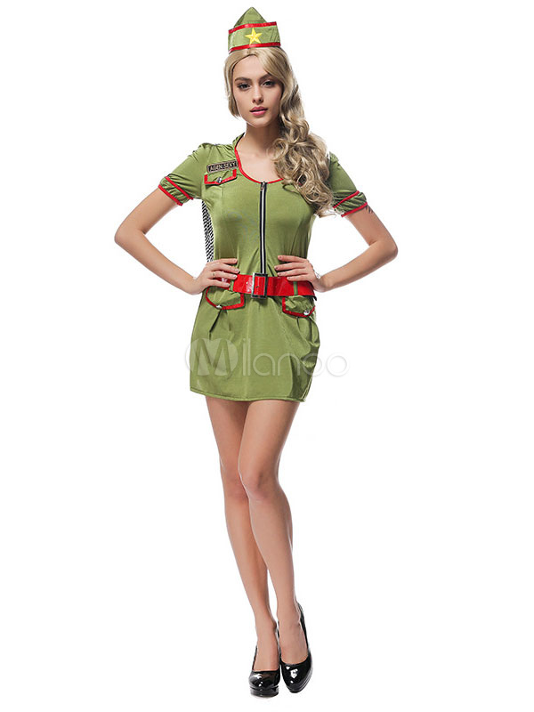ab5627b876d17 Army Costume Sexy Halloween Women Camo Printed Hunter Green Dress Outfit 3  Pieces-No.