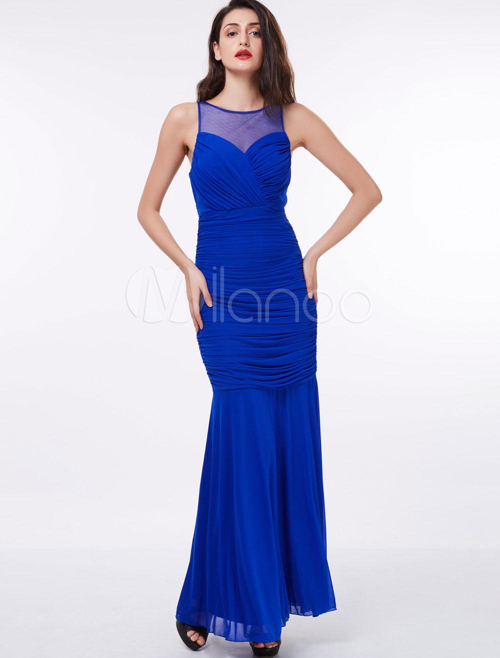 Abendkleider royal blue mermaid chiffon abendkleid geraffte sleeveless illusion bodenlangen - Milanoo abendkleider ...