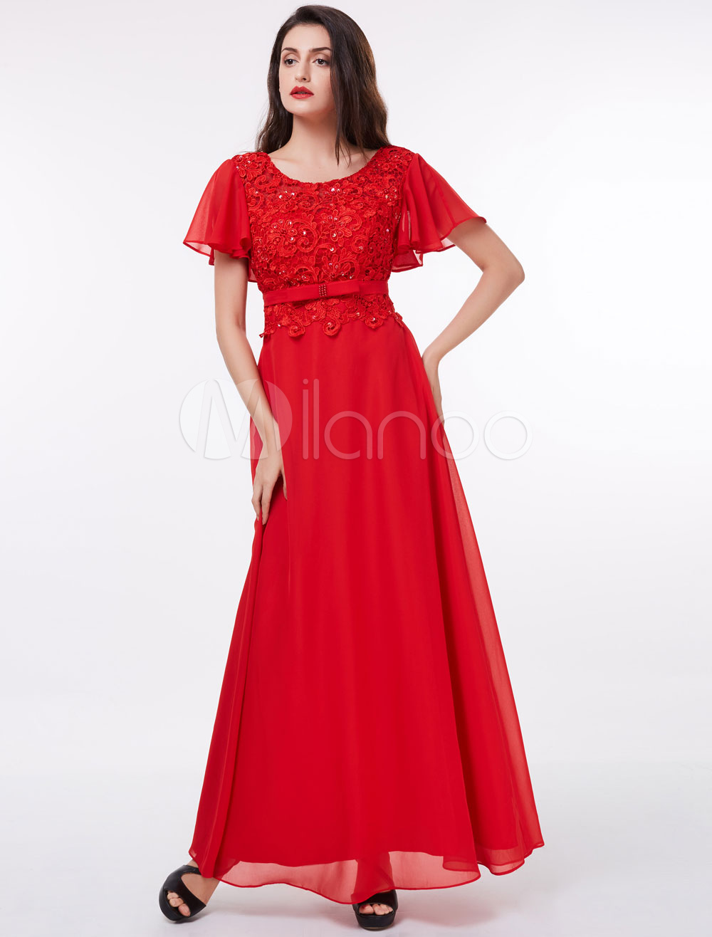 Red Prom Dress Chiffon Lace Sequin Beaded Bow Sash Short Sleeve Floor Length Formal Party Dress