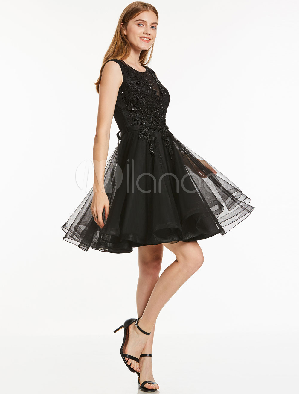 Short Prom Dress Tulle Little Black Dress Lace Applique Beaded Sleeveless Graduation Dress