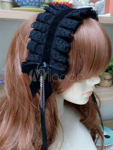 Buy Classic Lolita Headdress Lace Pleated Bow Fringe Black Lolita Hair Headband for $12.79 in Milanoo store