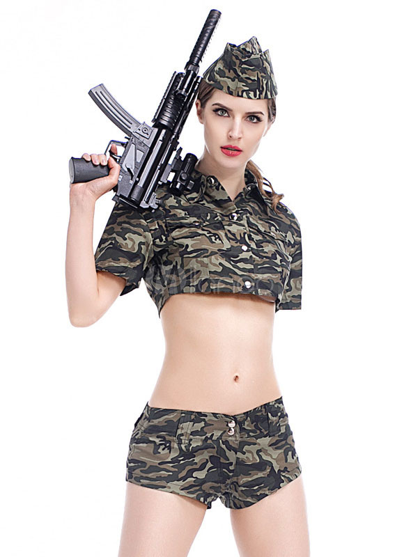 ea04b103d36ec Army Costume Sexy Halloween Women Camo Printed Outfit 3 Pieces-No.1 ...