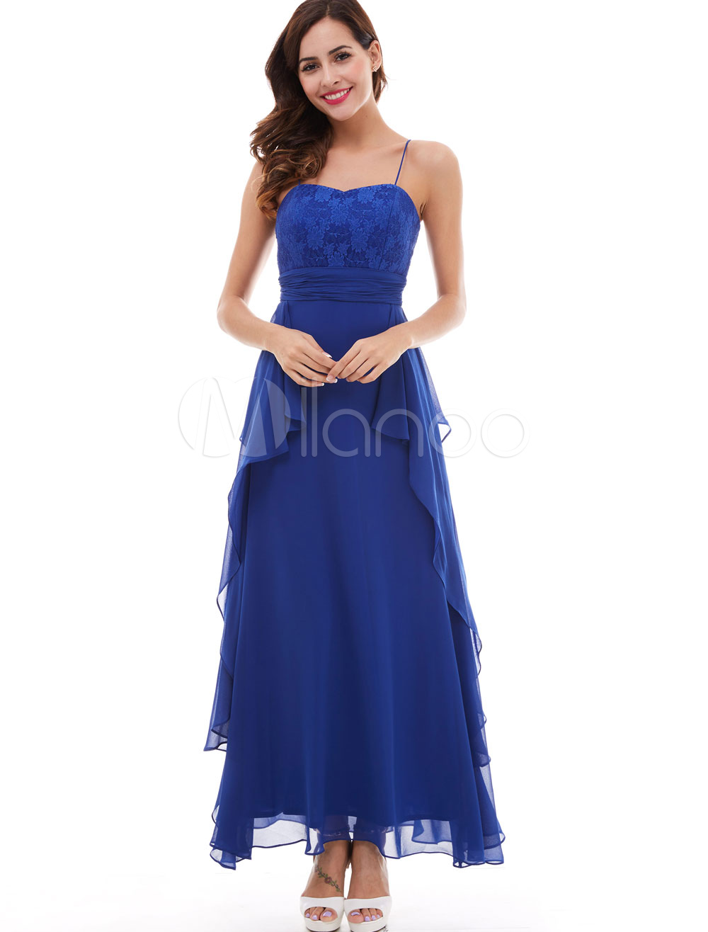 Prom Dresses Long Royal Blue Chiffon Lace Spaghetti Straps Cascading Ruffles Ankle Length Formal Party Dress