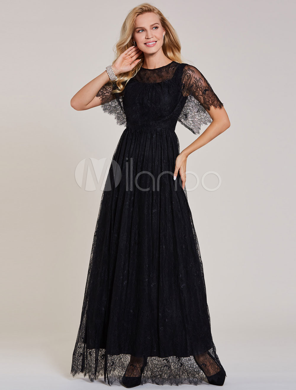 Lace Evening Dresses Black Short Sleeve Prom Dress Long Floor Length Formal Poncho Cape Dress