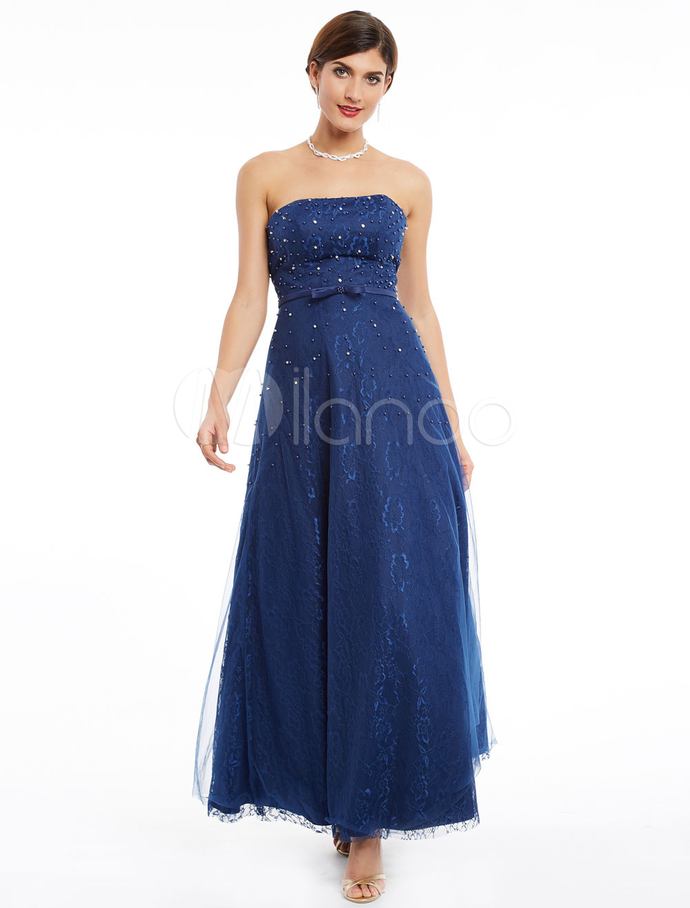 Buy Prom Dresses Dark Navy Long Strapless Lace Beading Floor Length Bow Sash Backless Formal Dress for $106.79 in Milanoo store