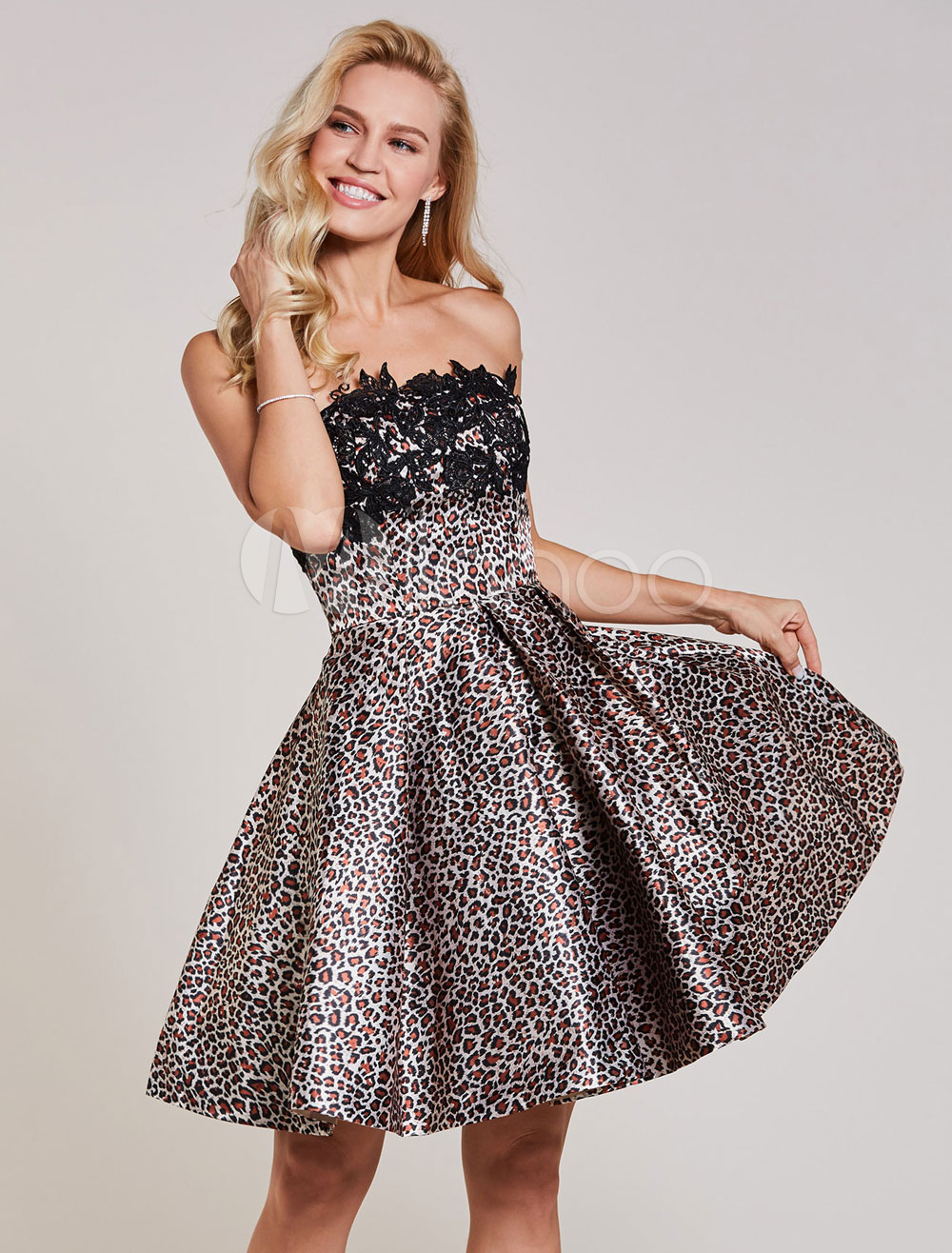 Buy Leopard Cocktail Dresses Printed Strapless Lace Applique Pleated Short Party Dresses for $71.19 in Milanoo store