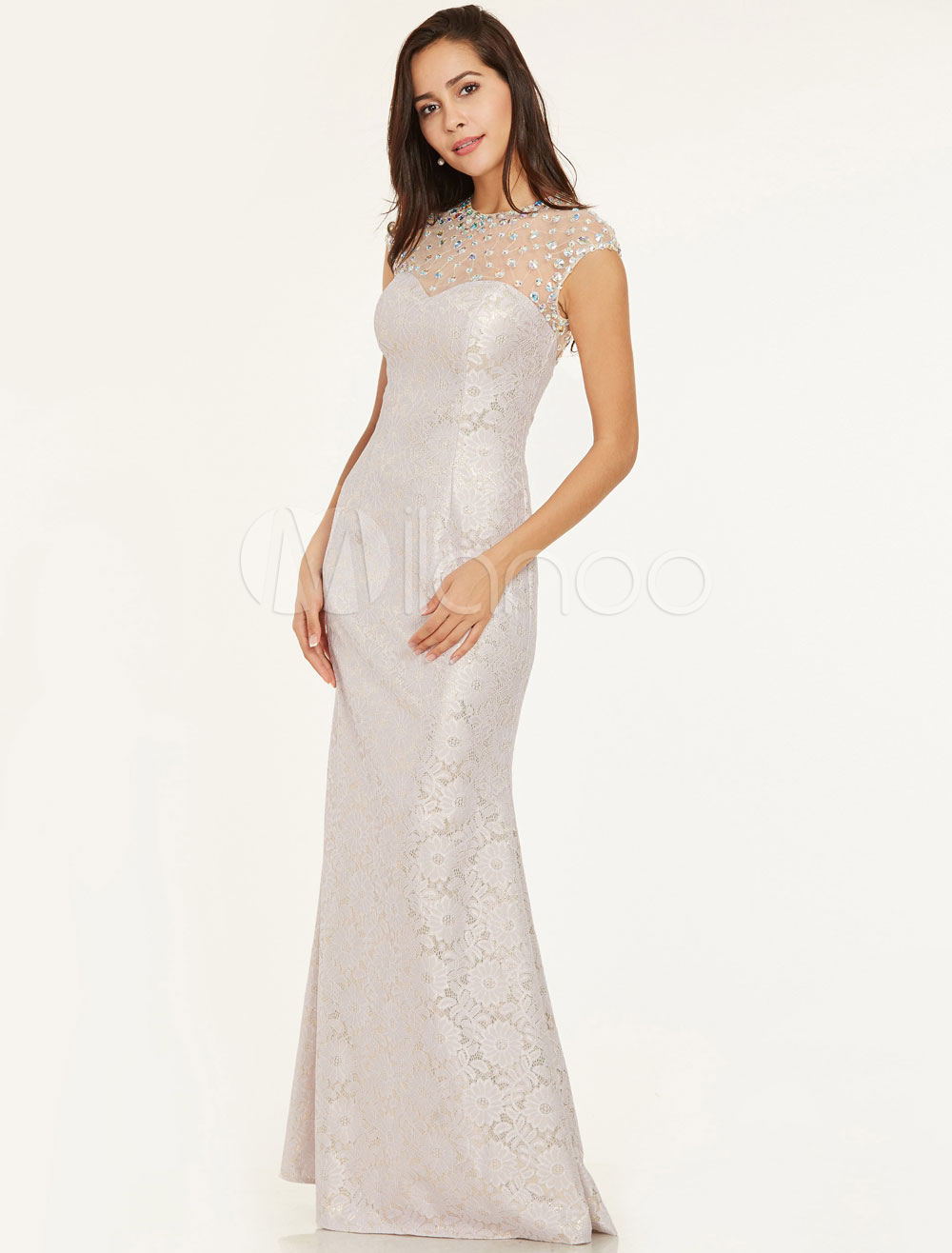Buy Lace Prom Dresses Mermaid Ivory Evening Dress Sleeveless Beading Floor Length Formal Gowns for $88.99 in Milanoo store