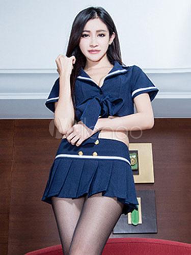 Halloween School Girl Sexy Nerd Costume Womens Navy Top And