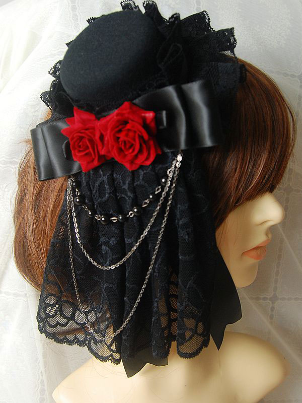 Buy Gothic Lolita Headdress Lace Ruffle Floral Bow Metallic Chain Two Tone Lolita Hair Accessory for $15.99 in Milanoo store