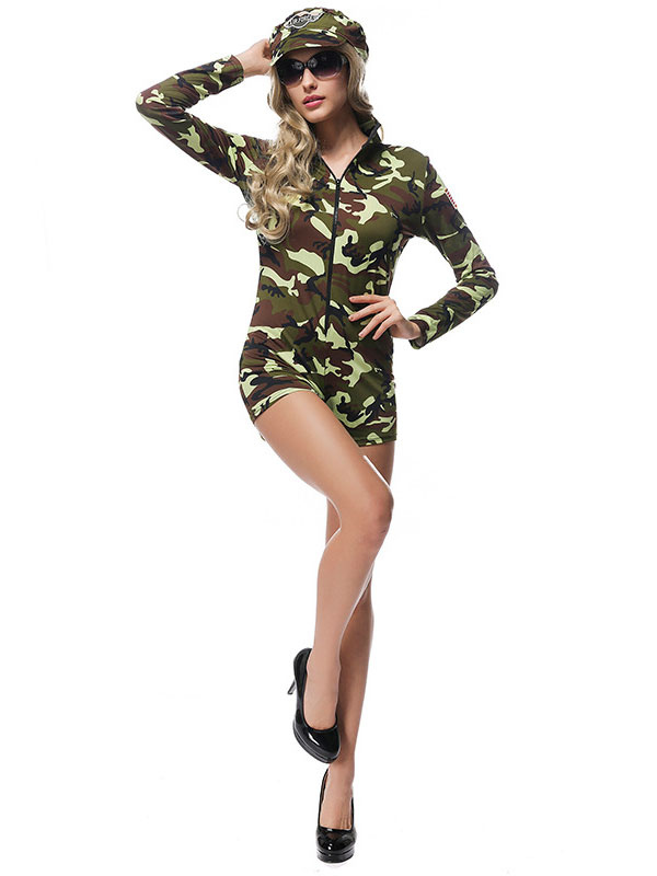dbba6774e13 ... Halloween Army Costume Sexy Women Camo Printed Jumpsuits And Hat-No.3  ...