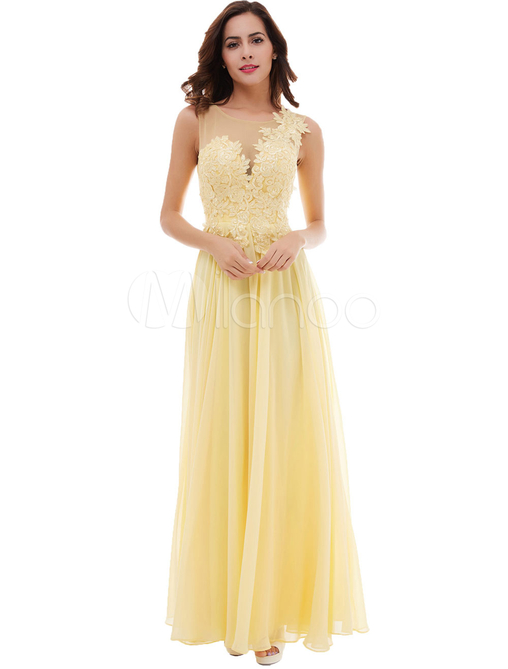 Buy Prom Dresses Daffodil Long Lace Applique Chiffon V Back Illusion Floor Length Formal Party Dresses for $67.99 in Milanoo store