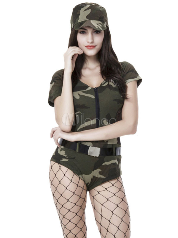 4f98eb6dc36 Army Costume Sexy Halloween Women Camo Printed Jumpsuits And Hat Outfit 2  Pieces-No.