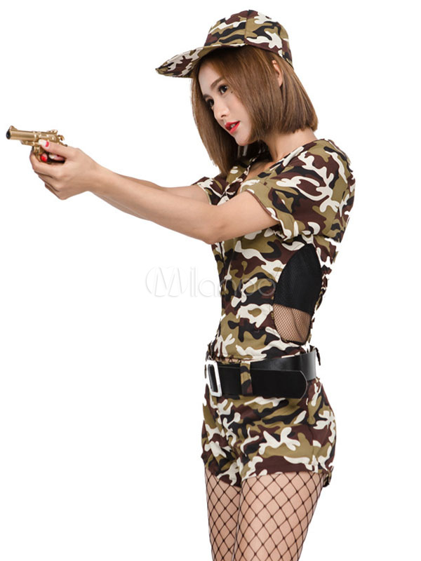 9bf3bb92191 ... Halloween Army Costume Sexy Women Camo Printed Jumpsuits 3 Pieces Outfit-No.2  ...