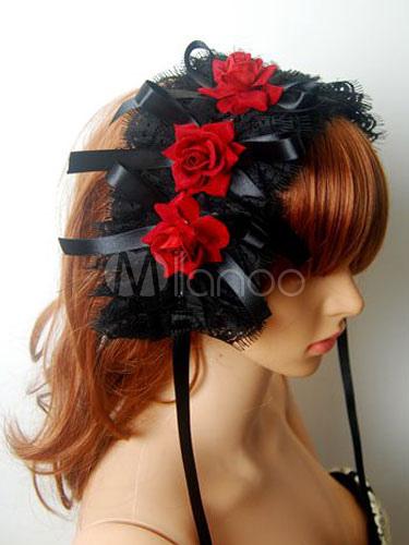 Buy Gothic Lolita Headdress Lace Pleated Flower Two Tone Black Lolita Headband for $17.09 in Milanoo store