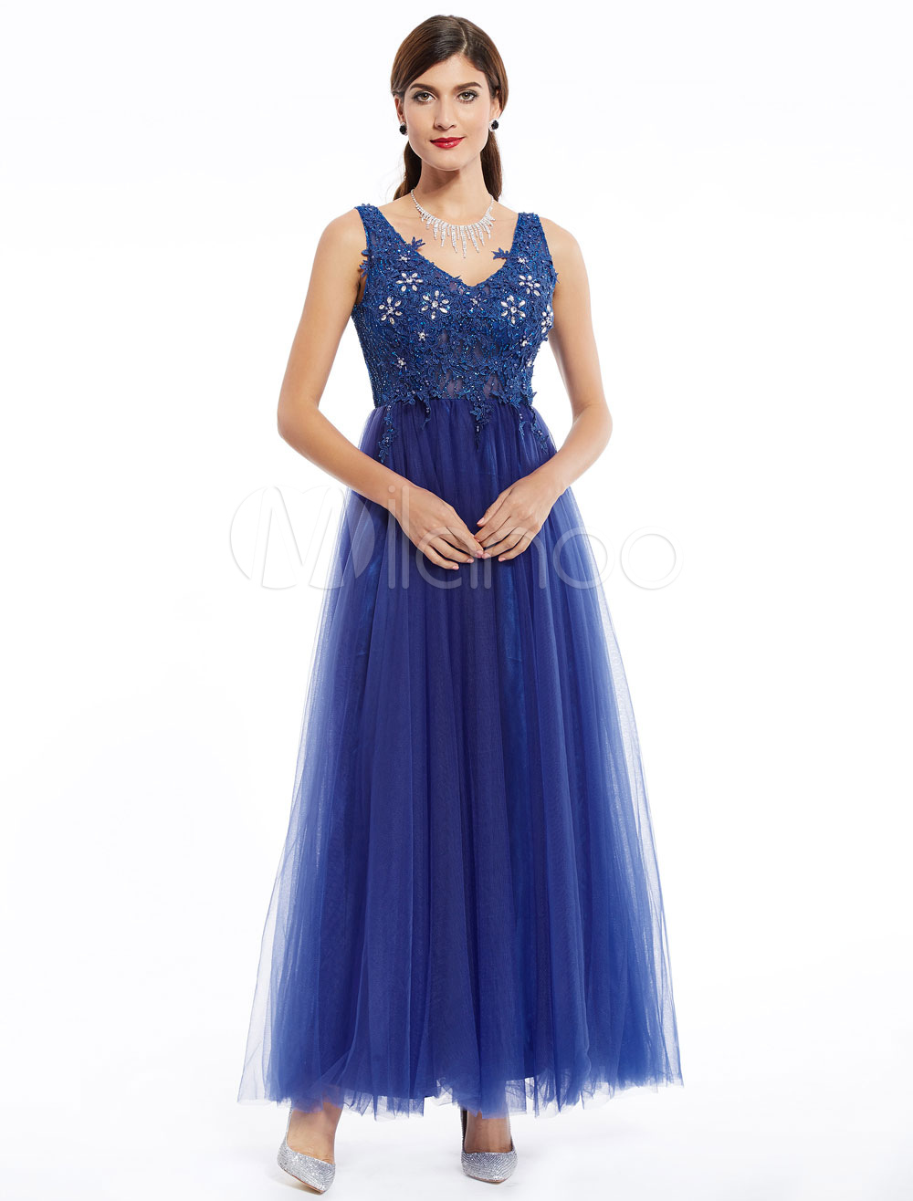 Prom Dresses Long Lace Applique Beading Tulle V Neck Ankle Length Formal Party Dress