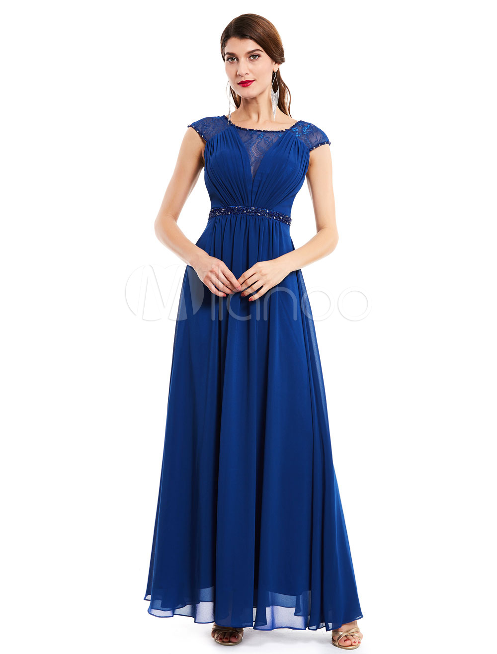 Wedding Guest Dresses Chiffon Royal Blue Mother Dress Beading Sash Floor Length Formal Dress