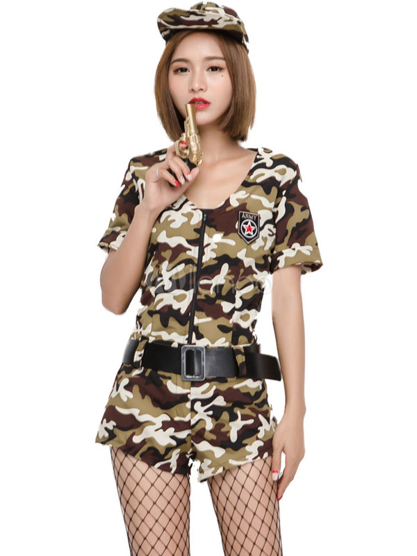 Halloween Army Costume Sexy Women Camo Printed Jumpsuits 3 Pieces Outfit