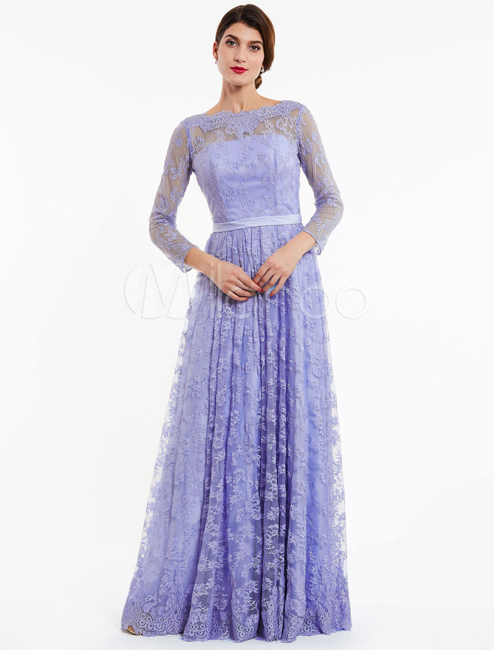 Buy Lace Evening Dresses Backless Lilac Long Sleeve Illusion Sash Bateau Floor Length Formal Occasion Dress for $106.79 in Milanoo store