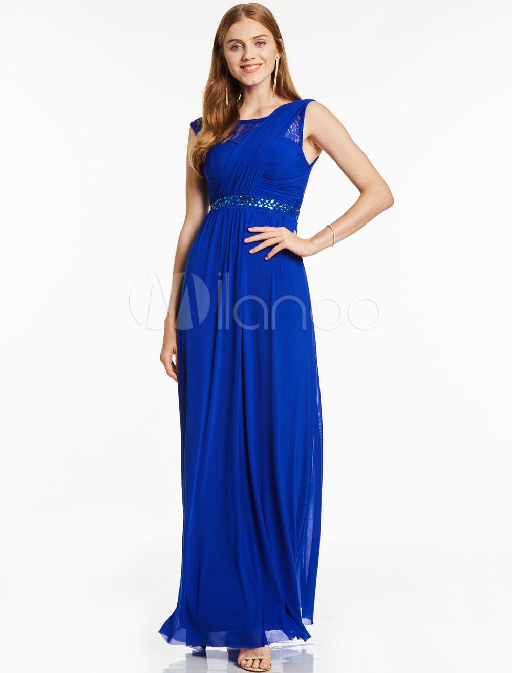 Buy Prom Dresses Long Royal Blue Beading Sash Sleeveless Chiffon Floor Length Party Dress for $66.74 in Milanoo store