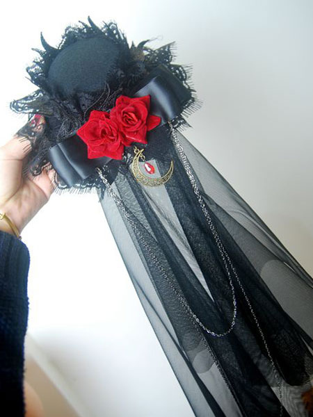 Buy Gothic Lolita Veil Tulle Lace Trim Hat Floral Two Tone Bow Black Lolita Headdress for $16.79 in Milanoo store