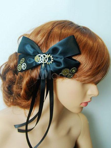 Buy Steampunk Lolita Headdress Satin Bow Metallic Fringe Black Lolita Headband for $15.29 in Milanoo store