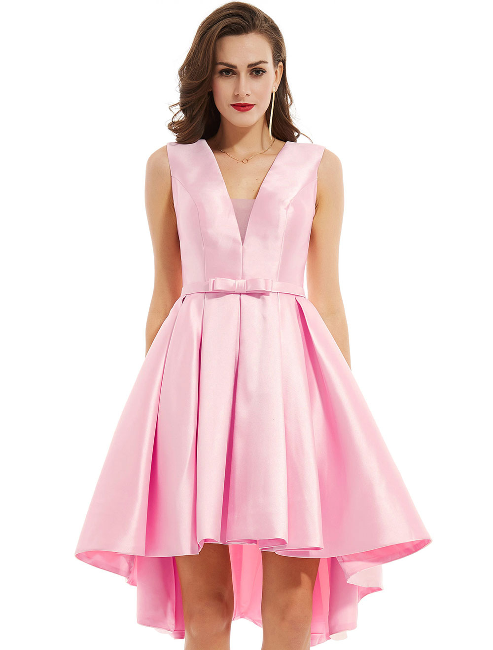 Cocktail Dress Soft Pink V Neck High Low Asymmetrical Bow Sash Short Graduation Party Dress