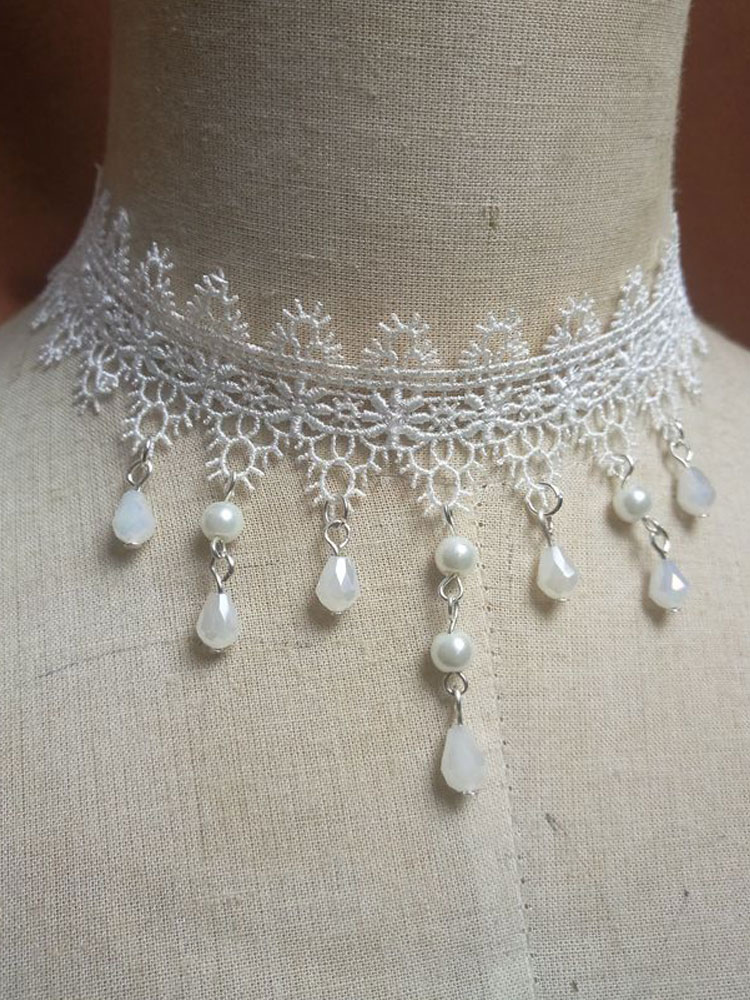 Buy Classic Lolita Choker Necklace Lace Pearl Dangle White Lolita Jewelry for $10.39 in Milanoo store