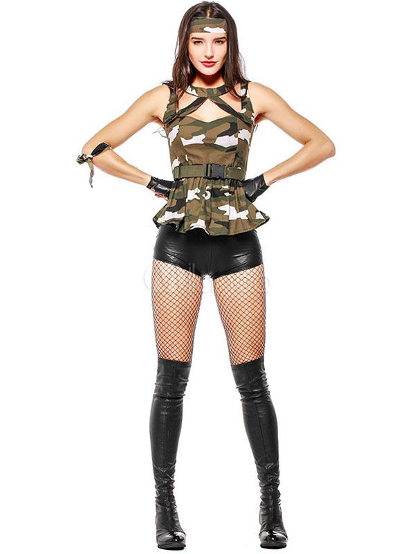 Polyester De Sexy Femme D'armée Gzwadqo En Costume Camouflage Pour Terre 0n8wOPk